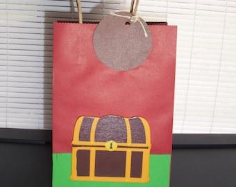 pirate birthday bag favors, treasure chest favor bags,kids pirate party, birthday party bags