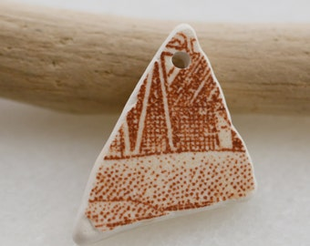 Brown China. Beach Pottery. Jewlery Supplies. Genuine Beach Pottery, Top Drilled, Eco Friendly, lot P7.