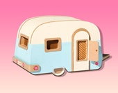 Vintage Caravan / Trailer Brooch for Festival, Retro and Camping Enthusiasts, green or blue