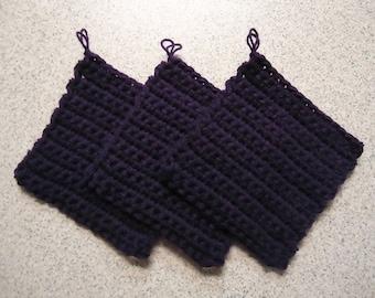 Set of 3 Deep Violet Hand Crocheted Potholders - Kitchen Decor