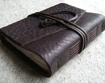 "Leather journal, rustic dark brown, 4"" x 6"", handmade journal by Dancing Grey Studio(1520)"
