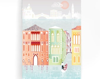 Venice Canvas Wall Art, Canals and Gondolas, Framed Canvas Print Poster, Cityscape Illustration, Home, Office Nursery Art decor, Gift VCP01
