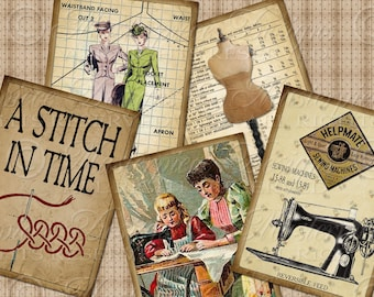 A Stitch In Time / Sewing / Needlework - Printable ATC, ACEO, Hang Tags, Gift Tags, Instant Download and Print Digital Sheet