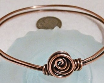 Bracelet, Copper, Rosebud, Wire Wrapped  4707