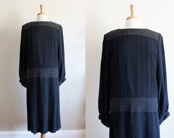 Vintage Albert Nipon Black Drop Waist Pleat Dress