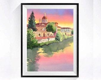 Florence, Italy Travel Art, Watercolor PRINT, Sunset painting, Ponte Vecchio bridge, Church chaple, cityscape, pink green