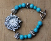 Turquoise and Silver Bracelet Watch, Watch Bracelet