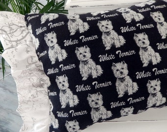 West Highland White Terrier Pillow two fabrics two faces Westie galore