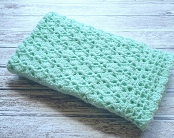 Mint Green Baby Blanket Crochet Car Seat Stroller Crib Afghan Gender Neutral Homecoming Shower Gift Photo Prop