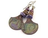 Purple Wash Industrial Earrings - Metal Earrings - Wire Earrings -Boho Earrings -Artisan Earrings -Enameled Earrings -Antique Brass Earrings