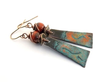Turquoise and Red Earrings - Enameled Metal Earrings - Artisan Earrings - Industrial Earrings - Boho Earrings -Copper Earrings -Red - AE050