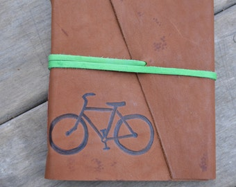 Handmade Leather Bicycling Journal with a Bike Design FREE Personalization