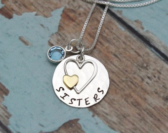 Sister Necklace - Hand Stamped - Personalized Sterling Silver Jewelry