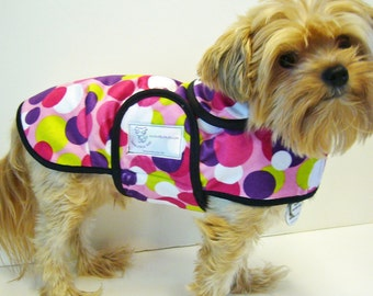 Bright Dot Minky Dog Coat  20 dollars to 50 dollars depending on the size by Doodlebug Duds