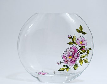Bud Vase - Hand Painted - Peonies