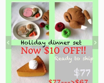ETSY Pretend food- Play food- Felt food Thanksgiving Dinner set
