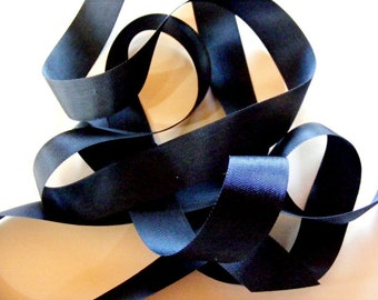 Vintage 1950's French Woven Ribbon 7/8 Inch Dark Navy Blue