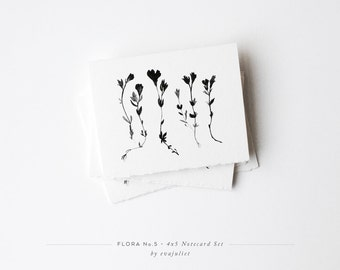 "Flora No.5 | Botanical Note card Set | Greeting Cards set 4""x5"" or 5""X7"" 
