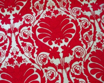 Vintage Flocked Red Scroll Wallpaper Four Yards Plus