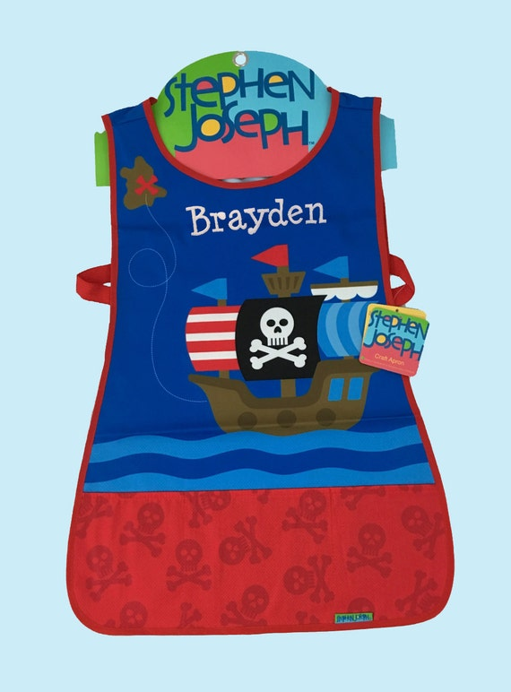 Personalized Stephen Joseph -Craft Apron PIRATE Themed-Art Craft Smock Apron-Monogramming Included