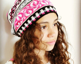 Knit Slouchy hat, Fair Isle hat, 2 sizes, For Girls, Teens, Women, Warm and Colorful, fuchsia, grey, white, black