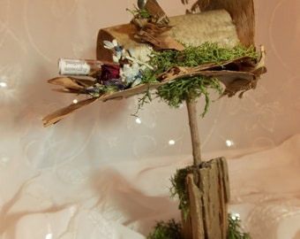 Fairy Mailbox and Letters~Garden Accessories Garden Fairies Fairy Furniture Mailbox Natural Fairy Driftwood Mailbox~Fairy Garden Furniture