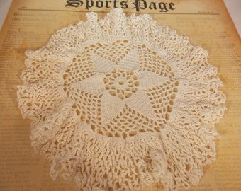 Vintage Doily, Beautiful Hand Crocheted  Lace Table Doily, Delicate Tiny Stitches, Vintage Antique Table Dressing, Display