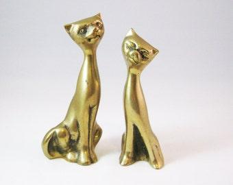 Brass Cat Figurines, Mid Century Mod Statues