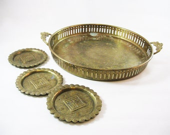 Vintage Tarnished Brass Tray and Coasters