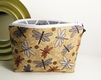 Dragonfly makeup bag, cosmetic pouch, small zipper pouch, small clutch, dragonflies cosmetic bag