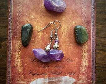 Purple Amethyst Nugget Earrings
