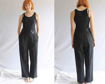 90s high waisted ARMANI black tuxedo pants women's
