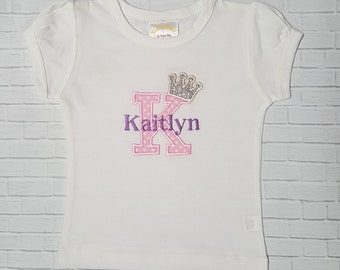 PRINCESS Crown Personalized Name & Initial  Shirt Or Onesie  Birthday