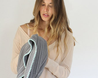 Bamboo scarf, Infinity scarf, Knit scarf, Grey and Mint scarf