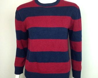 VTG 90s Striped Red Blue Grunge  Sweater