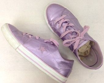 VTG 90s Shiny Purple Pink One Star Converse 7 37.5 Womens Raver