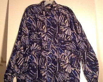 FLASH SALE 80s SubStudio silk shirt punk pattern skater surfer men new wave eighties small medium large