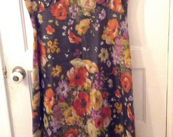 SALE long floral gown dress 1970s polyester photo print picture flower hippie 70s seventies prom