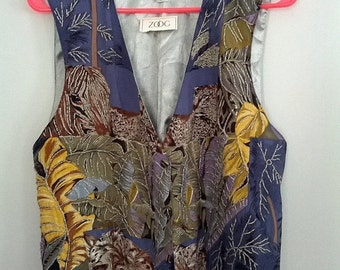 SALE Zoog beaded vest floral flower 1980s bugle bead embroidered grunge new large