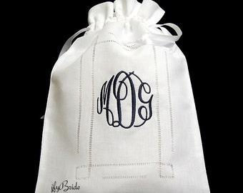 Monogrammed Lingerie Bag, Irish Linen Lingerie Bag, Style 9843
