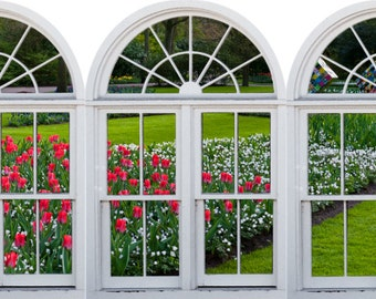 Faux window frame, photo wall decals Dutch Garden-3, Holland- window view-large 3 piece set-24x36 each panel