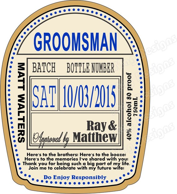 Grooms gift custom groomsman liquor labels to fit your for Groomsman liquor bottle labels