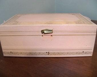 large pink jewelry box velvet inside 3 levels