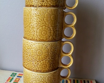 4 stack able mugs  japan double finger handles