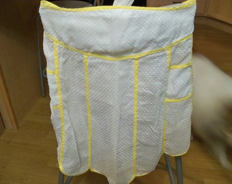 cute  adult french knot yellow and white apron