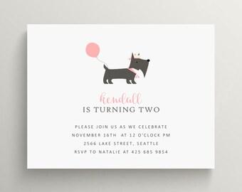 scottie dog birthday invitation // baby shower invitation // thank you note // kids birthday // puppy // dog // pet // pound
