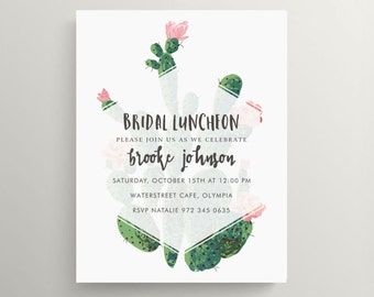 large cactus bridal luncheon invitation // engagement party // brunch // baby shower invitation // birthday // succulent // thank you note