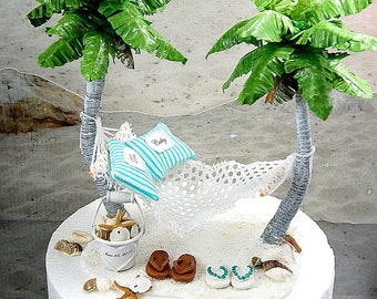 SALE!  Honeymoon Hammock Beach Wedding Cake Topper Custom Colors Handmade To Order With Palm Trees, Flip Flops, And More