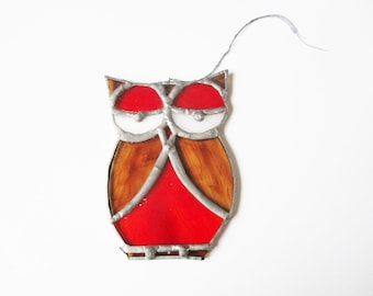 Stained glass owl: cute red and brown owl motif handmade stained glass suncatcher, sun catcher, stained glass sun catcher, owl suncatcher