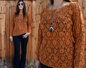 Vintage 90s CROCHET SWEATER Top OS